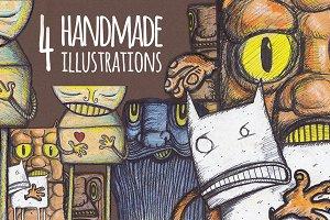 4 Handmade Illustrations