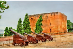 Cannons at Alhambra fortress in Granada, Spain