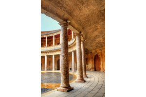 Atrium with columns at the Palace of Charles V, Alhambra fortress in Granada, Spain
