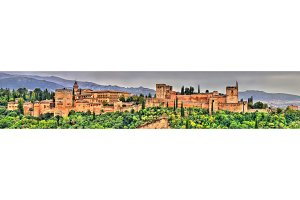 Panorama of the Alhambra, a palace and fortress complex in Granada, Spain