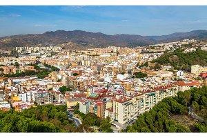 Panoramic view of Malaga from Gibralfaro Castle, Spain