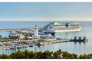 View of the seaport in Malaga, Spain