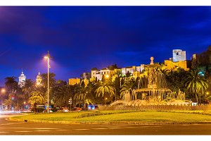 Tres Gracias Fountain and Alcazaba Castle in Malaga - Adalusia, Spain