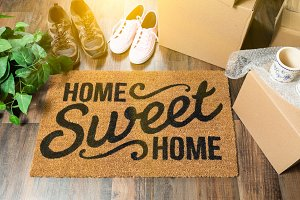Welcome Mat, Moving Boxes, Shoes