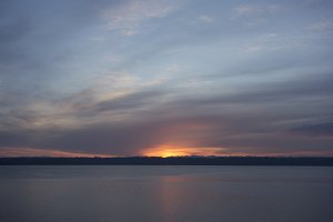 Flaming sunrise over ocean