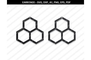 Hexagon earrings svg,dxf,ai,eps,png
