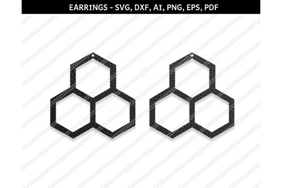 Hexagon Earrings Svg Dxf Ai Eps Png