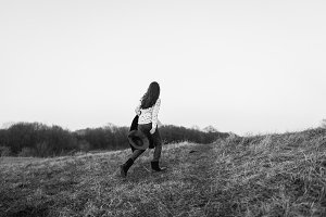 Girl walking to future