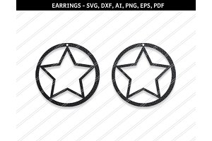 Star earrings svg,dxf,ai,eps,png