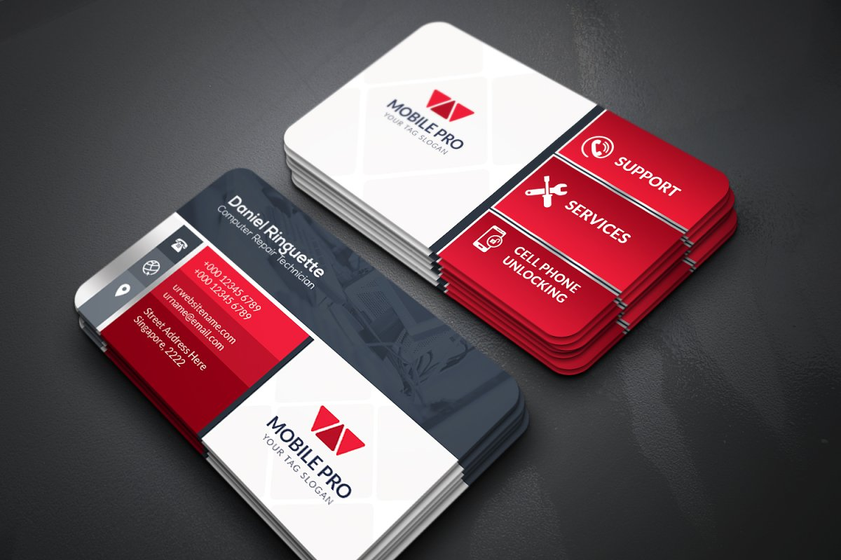 Mobile Repair Business Card Business Card Templates Creative Market