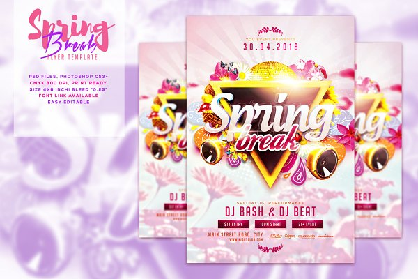 Spring V2 Break Flyer Template