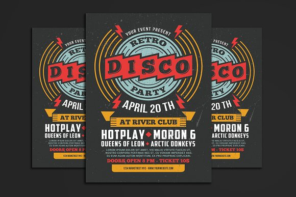 retro disco flyer flyer templates creative market