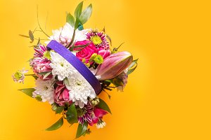 Bouquet colored background