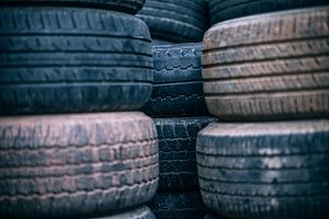 Stacked Used Tires