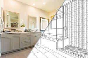 Master Bathroom Photo/Drawing Combo