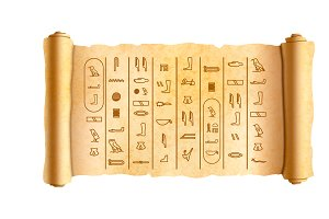 Papyrus scroll with hieroglyphics