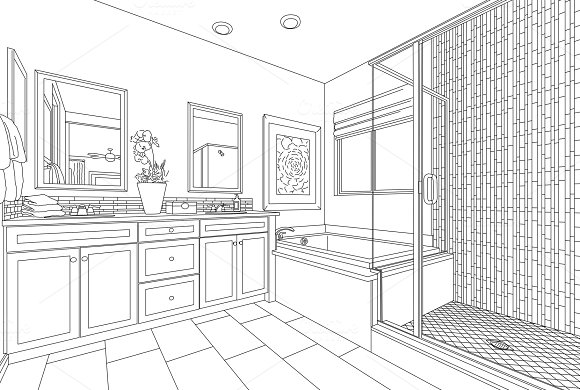 Detailed Drawing Of Master Bathroom
