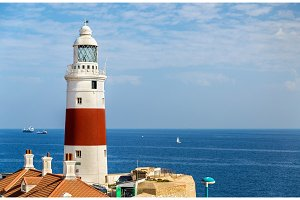Trinity Lighthouse at Europa Point, near the Strait of Gibraltar