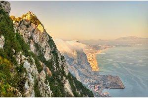 Rock of Gibraltar in fog. A British Overseas Territory