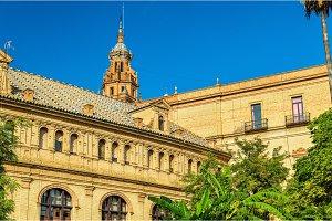 Main building of Plaza de Espana, an architecture complex in Seville - Spain