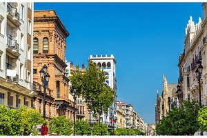Buildings in the city centre of Seville, Spain