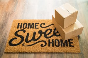 Home Sweet Home Welcome Mat & Boxes