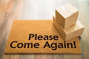 Come Again Welcome Mat & Boxes
