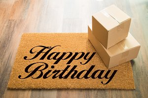 Happy Birthday Welcome Mat & Boxes