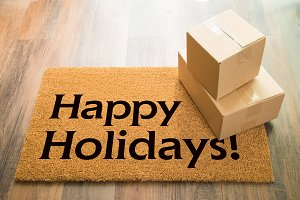 Happy Holidays Welcome Mat & Boxes
