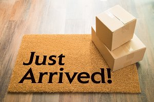 Just Arrived Welcome Mat & Packages