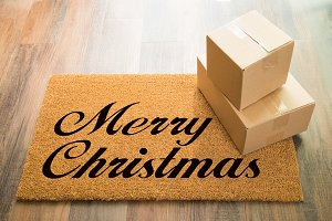 Merry Christmas Welcome Mat & Boxes
