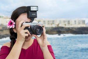 Beautiful photographer sightseeing.