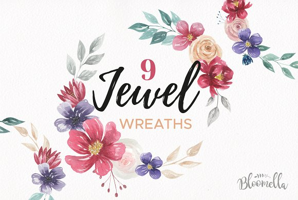 Jewel Floral Wreath Red Navy Set