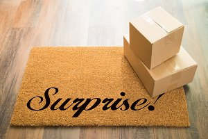 Surprise Welcome Mat & Packages
