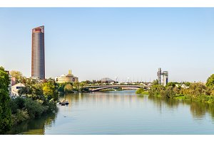 Skyline of Seville with the Guadalquivir river - Spain