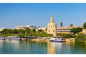 View of the Torre del Oro, a tower in Seville, Spain