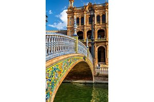 Bridge at the Plaza de Espana in Seville, Spain
