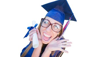 Graduating Girl, Cap & Gown On White