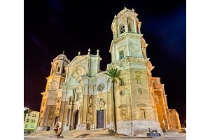 Night view of Cadiz Cathedral - Spain, Andalusia
