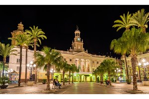 View of the city hall in Cadiz, Spain