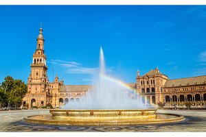 Rainbow in a fountain at the Plaza de Espana - Seville, Spain