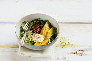 Green breakfast meal bowl