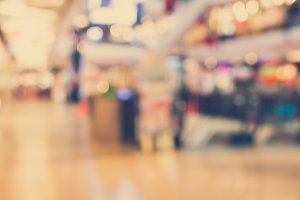 Vintage Style - Abstract background of shopping mall, shallow depth of focus