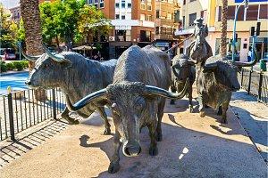 Statue of bulls near the Plaza de Toros in Alicante, Spain