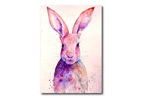 Watercolor Rabbit Art Print (Hare)