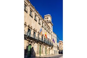 Facade of the town hall in Alicante, Spain