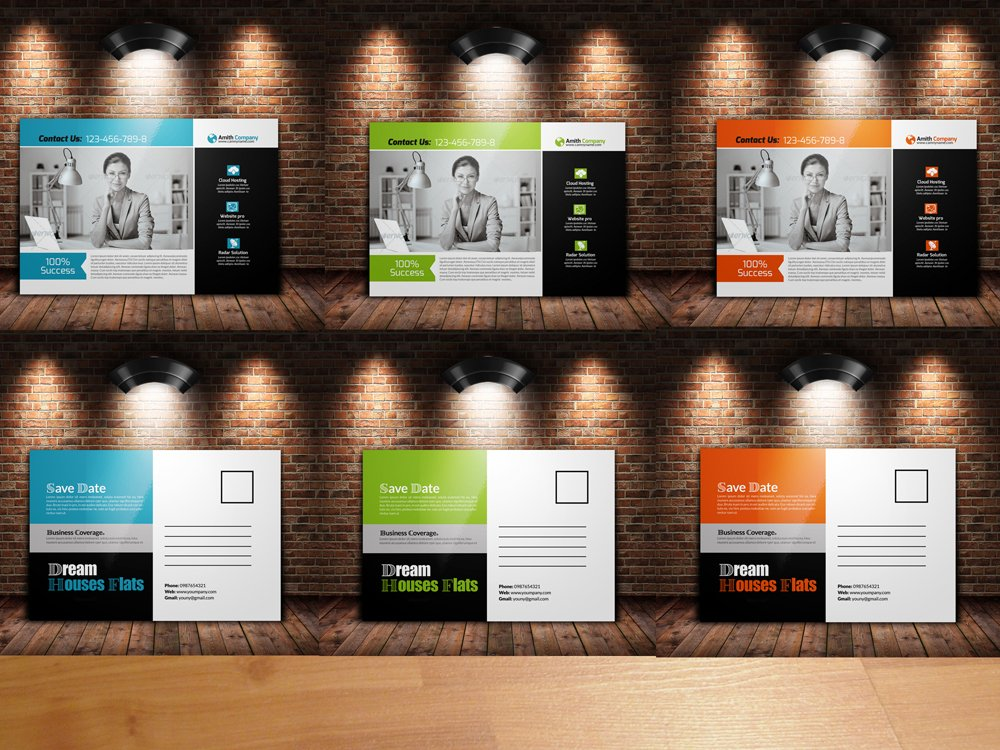 Business postcard template invitation templates creative market cheaphphosting
