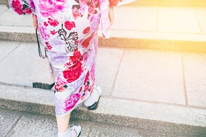 Women wearing kimono walking on street for shopping and cultural day wearing kimono.