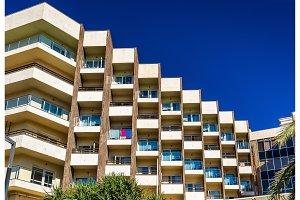 Facade of a residential building in Alicante, Spain
