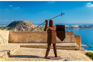 Iron statue of a medieval warrior at Santa Barbara Castle in Alicante, Spain